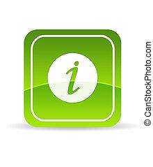 informazioni, verde, icona