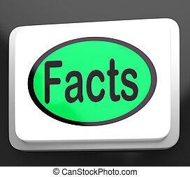 informazioni, vero, bottone, fatti, dati, mostra