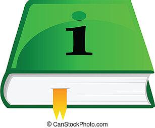 informazioni, vettore, libro, icona