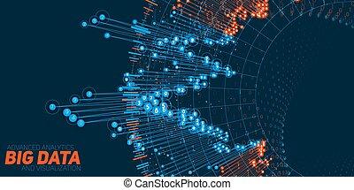 informazioni, visualization., rete, grande, infographic., ...