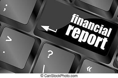 informe, botón, financiero, llave, teclado