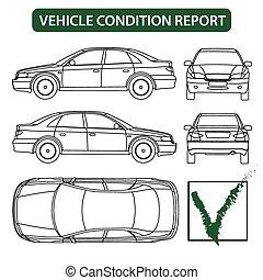 informe, condición, cheque, (car, vehículo