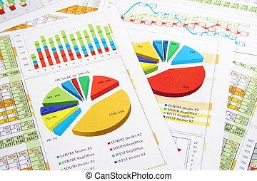 informe de ventas, en, dígitos, gráficos, y, gráficos