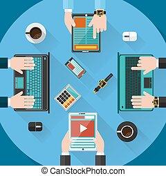 informe, el consultar, concepto, trabajo en equipo
