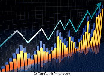 informe, financiero, bussiness, concepto, crecimiento