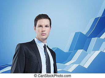 informe, financiero, statistics., y