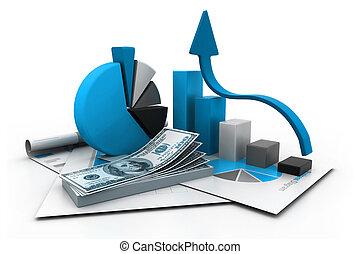informe, gráfico, financiero