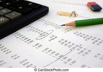 informe, lápiz, calculadora, financiero