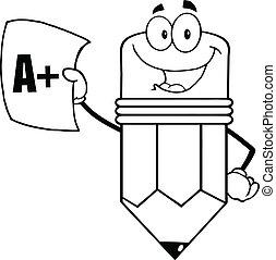 informe, lápiz, contorneado, tenencia, tarjeta