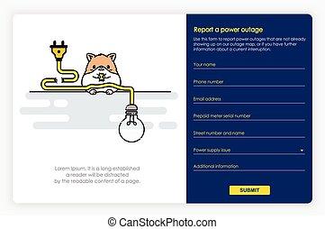 informe, potencia, pantallas, form., diseño, outage, ...