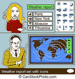 informe, tiempo, conjunto, iconos