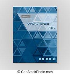 informe, vector, anual, cubierta, ilustración