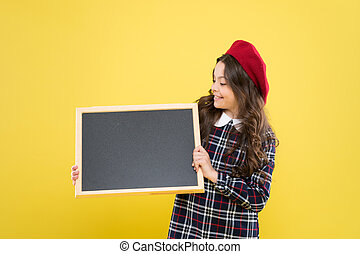 Informing you. Expect the unexpected. Child promo information board. Place for information. Girl hold blank blackboard. Advertising product copy space. Back to school concept. School information