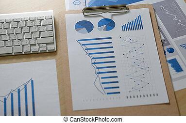 informuje, stół, zameldować, finansowy, dokumenty, wykresy, teamwork, paperwork, błękitny, wykresy, handlowy