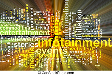 infotainment wordcloud concept illustration glowing