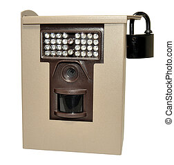 Infra red wildlife trail camera in a locked metal security case, isolated on a white background.