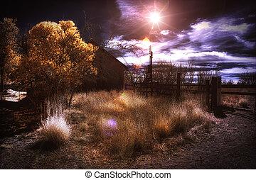 Infrared False Color Sunset Rural Scene