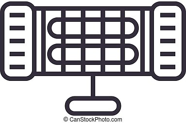 infrared heater vector line icon, sign, illustration on background, editable strokes