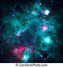 Infrared image of the emission nebula Monkey Head Nebula.