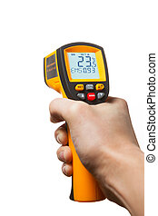 infrared laser thermometer in hand isolated on white