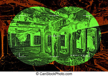 View through the night vision device in a ruins interior.