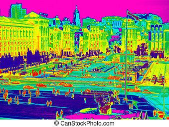 Infrared of Kiev - Image of Kiev, Maidan through temperature...