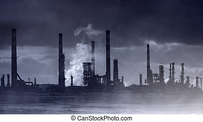 Infrared oil refinery by the sea