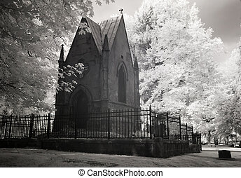 Infrared Photo of a Cemetery and Mausoleum - Infrared photo ...