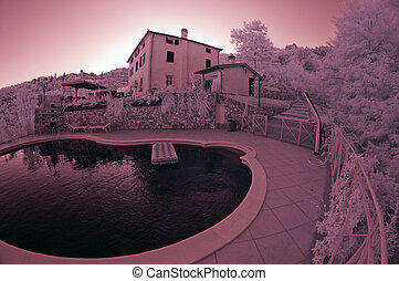Summer at Agriturismo in Tuscany, Italy, Infrared Picture