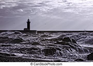 Infrared seascape - Infrared stormy seascape, Porto,...