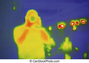 infrared - the photographer is filmed by the infrared camera