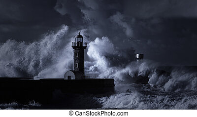 Infrared stormy seascape with huge waves against Douro river...