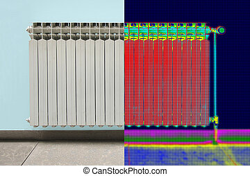 Infrared Thermal and real Image of Radiator Heater in house