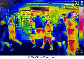 Infrared Thermal image people at the city railway station