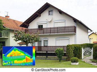 Infrared thermography image - House with Infrared...