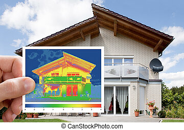 Infrared Thermovision Image Outside The House - Person Hand...