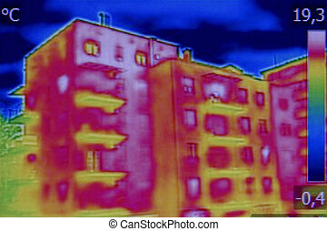 Infrared thermovision image showing lack of thermal...