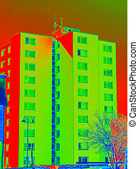 Infrared thermovision scan showing lack of thermal insulation. Infra or thermography photo