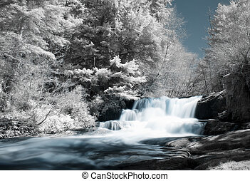 Infrared Waterfall - Alsea Falls, Oregon shot with an...