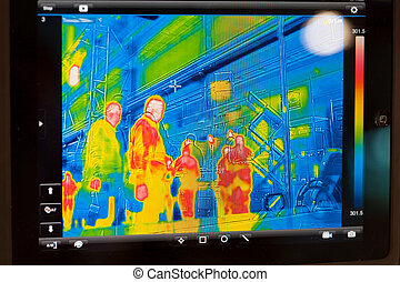 infrarouge, exposer, thermomètre