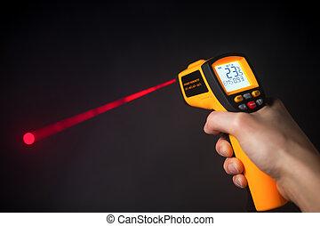 infrarouge, thermomètre, laser, main