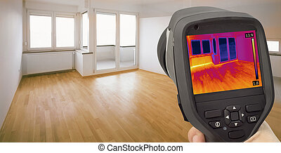 infrarrojo, detección, calor, escape