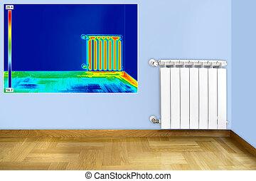 infrarrojo, imagen, de, radiador