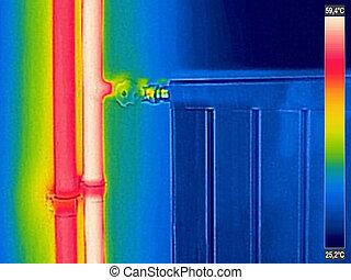 infrarrojo, imagen térmica, de, cerrado, radiador, calentador, en, casa