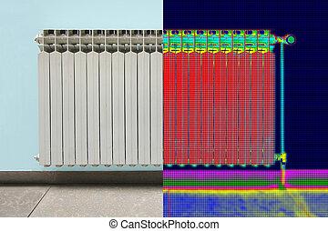 infrarrojo, termal, y, verdadero, imagen, de, radiador, calentador, en, casa