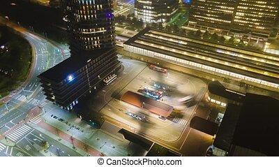 infrastructure, aérien, station, route, autobus, hyperlapse, busstation, venir, going., ferroviaire, nuit