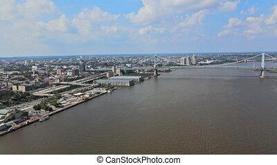 infrastructure, franklin, ben, aérien, papa, routes, vue, nous, philadelphie, rivière, pont, delaware, long