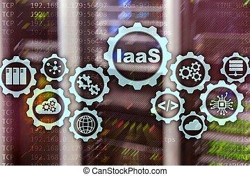 infrastructure, gestion réseau, service., icônes, graphique, concept., numérique, screen., iaas, ligne, internet