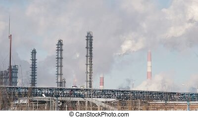 Infrastructure of industrial power plant, tanks and smoking...
