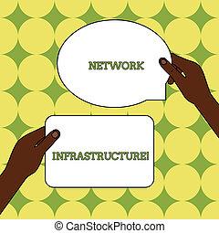 infrastructure., photo, signes, une, matériel, tenu, tablettes, vide, dehors, réseau, deux, autre, au-dessus, texte, conceptuel, ressources, projection, space., mains, signe, figured, connexion, logiciel